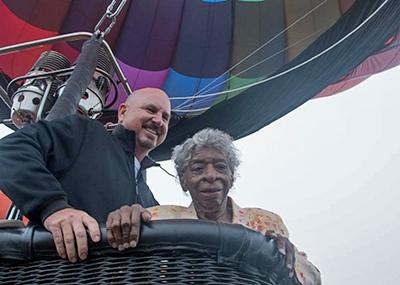 Bev rides a hot air balloon
